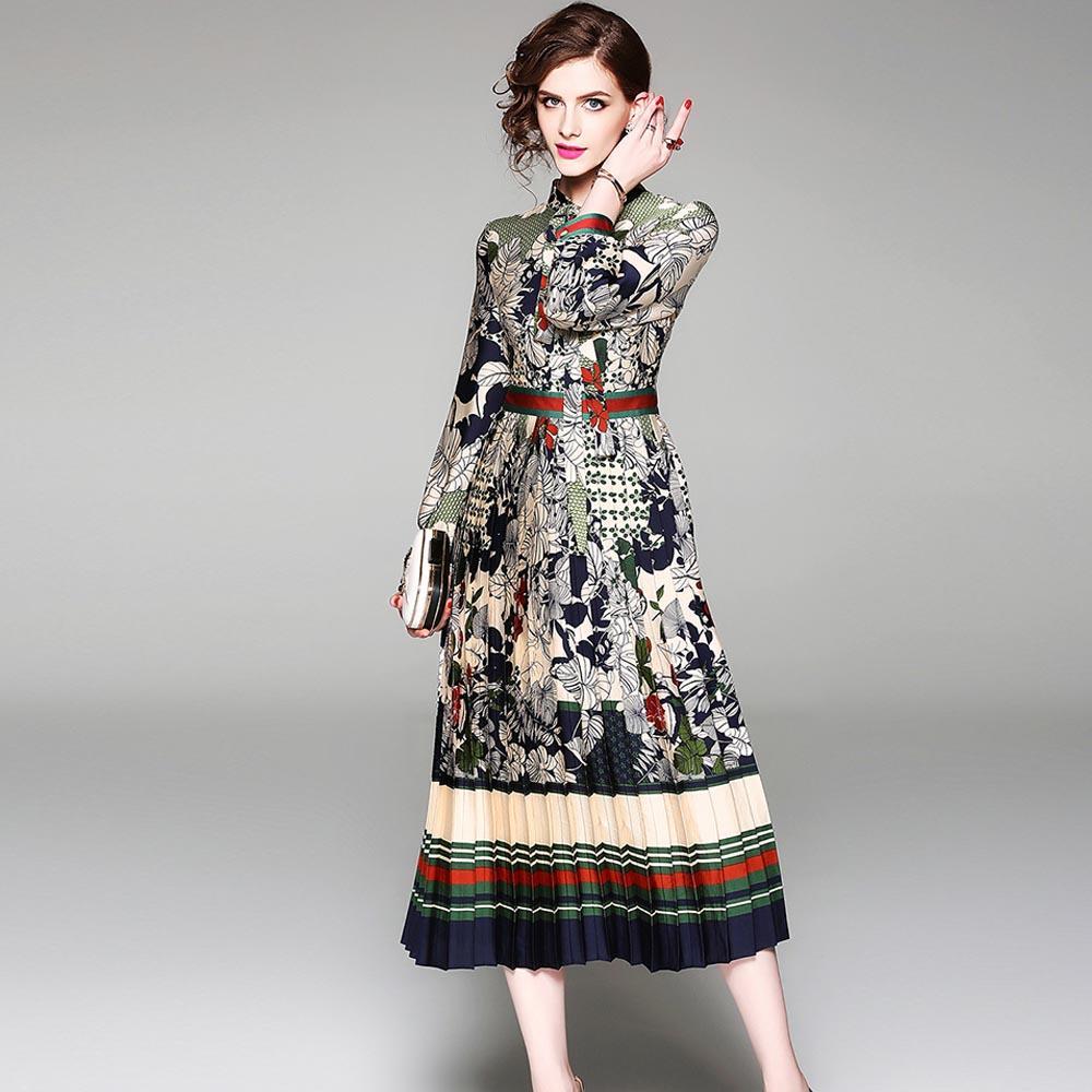 edcb28230b0 Acheter Robe Femme Vintage Imprimer Robes Midi Col En Mousseline À Manches  Longues Dames Robe Élégante Femme Style Rue Robes Pas Cher Prix De  38.89  Du ...