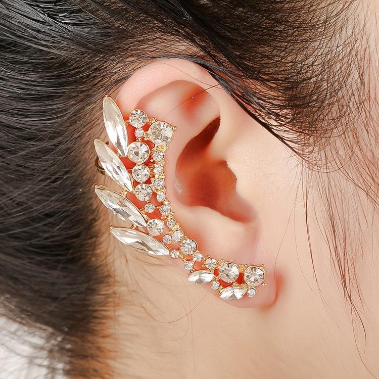 Earrings Gold Color Vintage Crystal No Ear Hole Flower Earrings For Girl Women Wedding Party Accessories Ear Cuff Clip Earrings Jewelry Latest Fashion