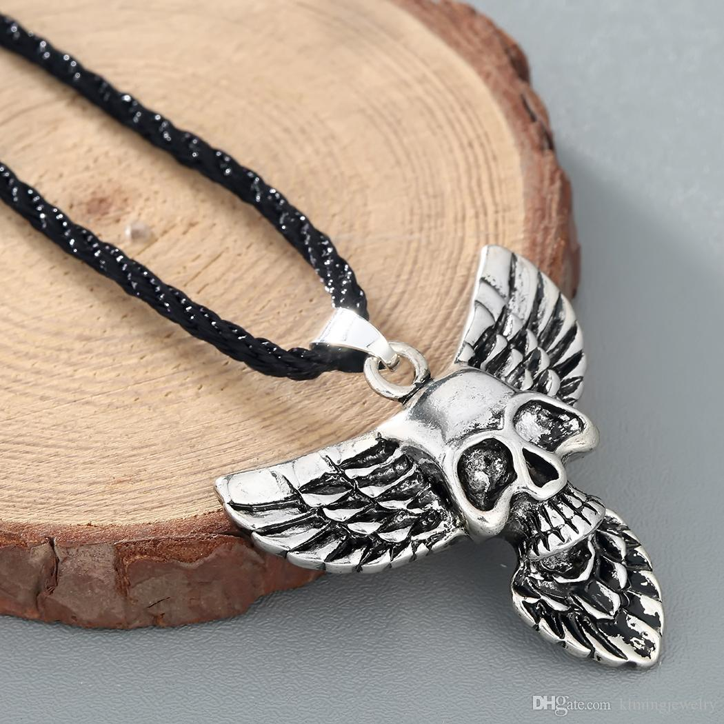 Skull Head Eagle Wing Pendant Necklace Gothic Jewelry Men's Fashion Punk Accessaries Hiphop Maxi Classic Luxury