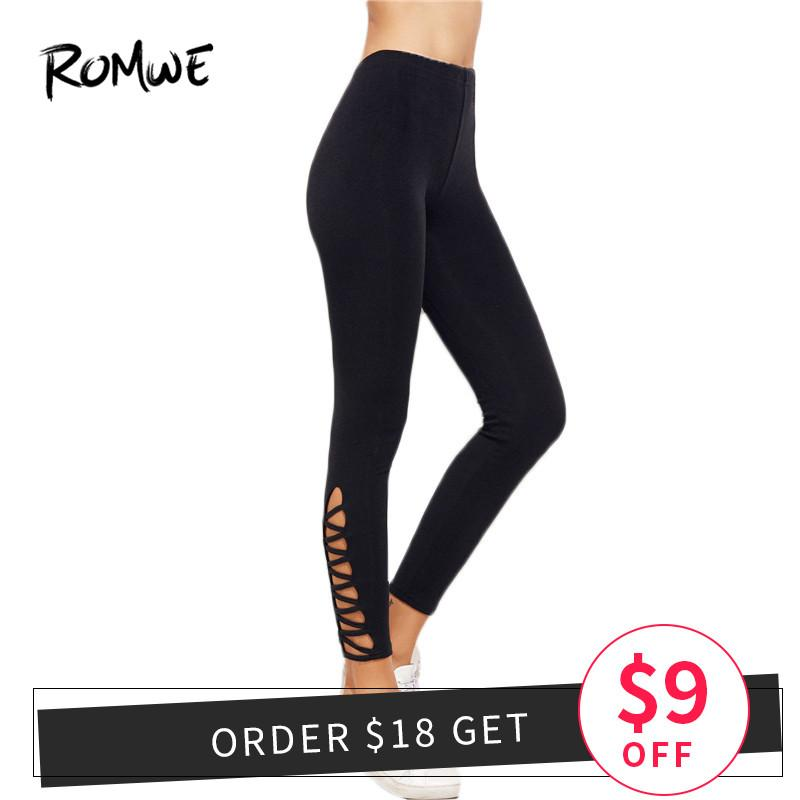 2019 Romwe Sport Lattice Hem High Waist Leggings 2018 New Arrival Black Cut  Out Crop Bottoms Women Solid Stretchy Yoga Pants From Ahaheng 8ad9faffc72