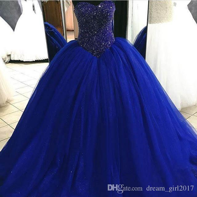 Custom Made Royal Blue Quinceanera Dresses For 15 Years Girls Sequin Beaded Sweetheart Ball Gown Tulle Sweet 16 Prom Evening Gowns Lace-up