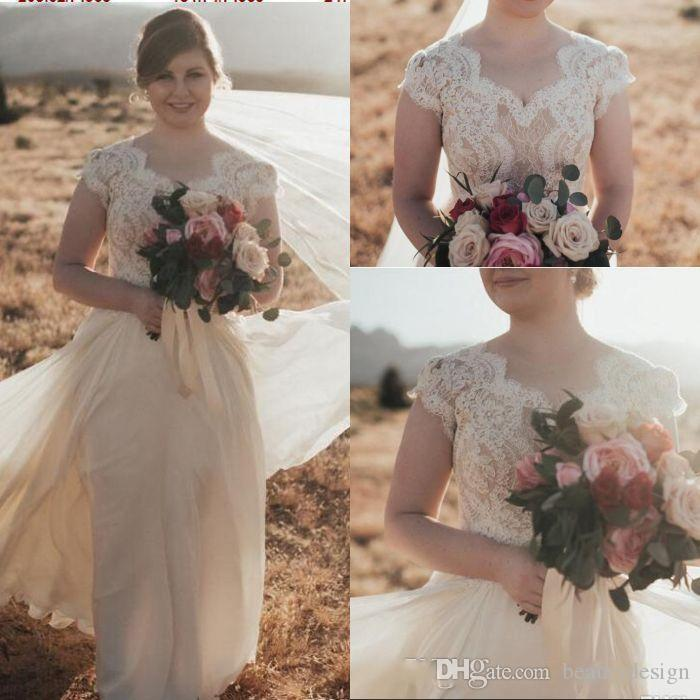 2019 Gorgeous Lace Chiffon Boho Modest Wedding Dresses With Cap Sleeves A  Line Buttons Back Informal Country Rustic LDS Bridal Gowns Sleeved Tulle  Wedding ... cd4e1472b444