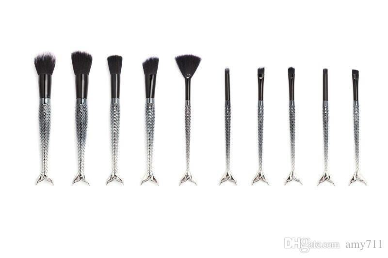 New MAKEUPS Brushes Set Mermaid Handle Design Blush Powder Eyebrow Eye shadow with Pouch/Bag DHL shipping