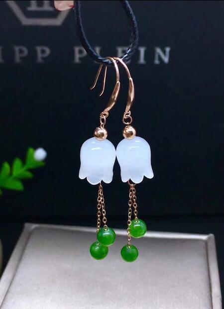 2018 18k gold white jade jasmine orchid flower pendant new pendant