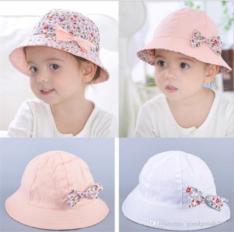 fa3b85ebe4e Summer Hat Baby Bowknot Floral Flower Fisherman Cotton Kids Girls ...