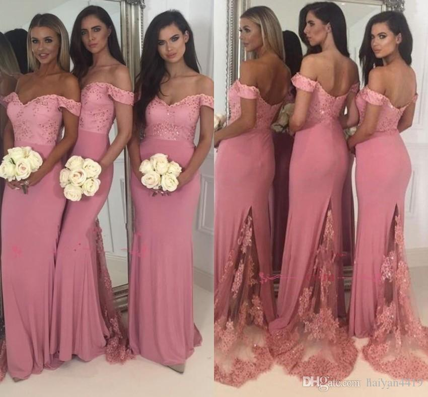 6f5c4d1f199 2018 Sexy Peach Mermaid Bridesmaid Dresses Lace Appliques Beaded Off  Shoulder Backless Floor Length Satin Maid Of Honor Gowns Wedding Guest  Cheap Dresses ...