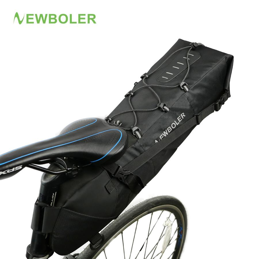 NEWBOLER Waterproof Bike Saddle Bag Large Bicycle Tail Seat Bags TPU +  Polyester Cycling Rear Panniers Bike Accessories 12L Max Bicycle Pannier  Bags Best ... 73a84e2e5cef