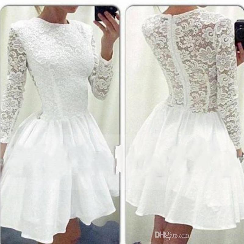 50a95d818fd1c Free Shipping white lace Homecoming Dresses Long Sleeve with Attractive  Lace Crew Neckline and Embellished Puffy Short White party Dresses