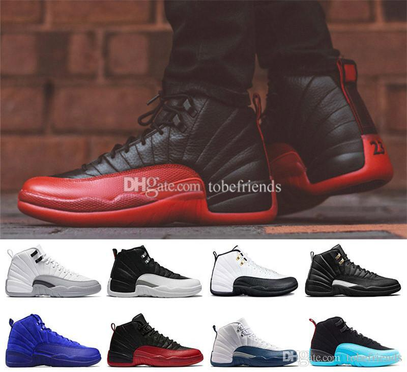 955fd324108 12 XII Men Basketball Shoes Dark Gray Bordeaux Flu Game Wolf Grey ...