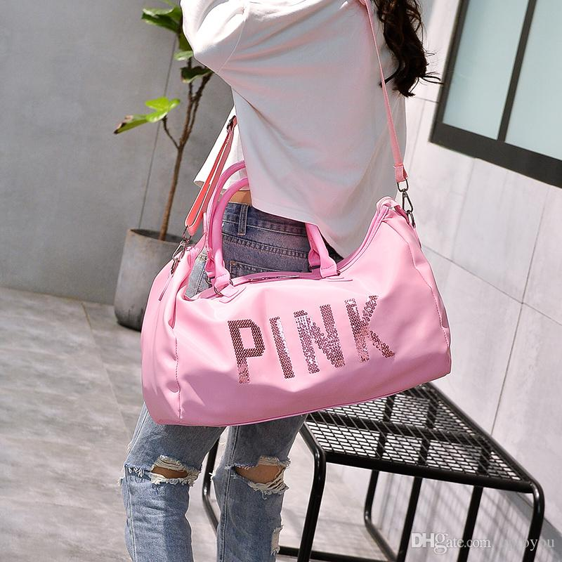 1ad7d2a47b2f Pink Letter Sequins Duffle Bag Large Capacity Girls Glitter Duffels ...