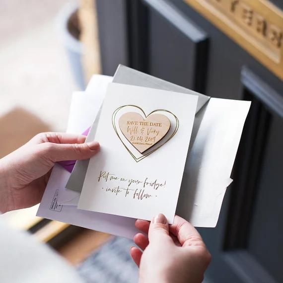 Personalize Names Date Engraved Wooden Card Save The Wedding Invitations Magnets Heart Magnet Cards Gifts Birthday Party Favor Boxes