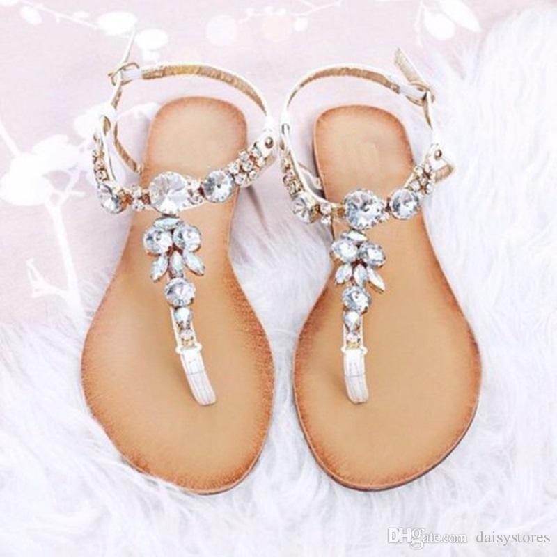 Bohemian Ethnic Flip Sandals Women Gladiator Shoes Flat Flops 2018 Petal Flower Rhinestone Wedding Crystal Girl Roman Casual FTKJl1c