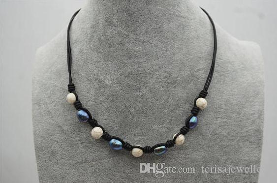3dd0a17b5dee Compre Joyería De Perlas De Cuero Negro