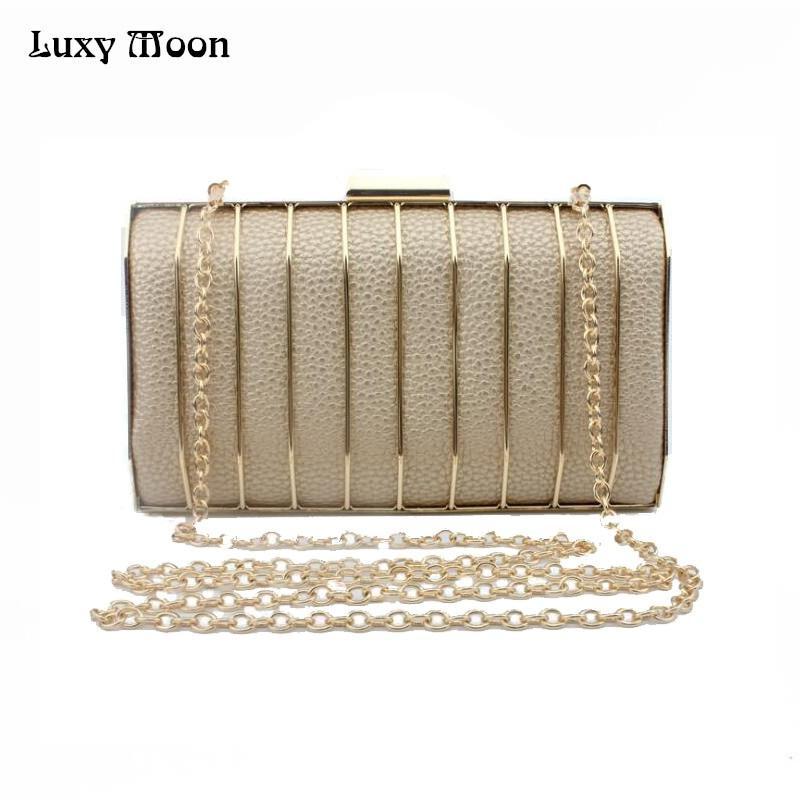 ae64ed6683 2018 Fashion Metal Clutch Bag Gold Silver Black Evening Bags Day Clutches  Purse Wedding Bride Handbag Small Totes Woman ZD599 Y18103004 Black Leather  ...