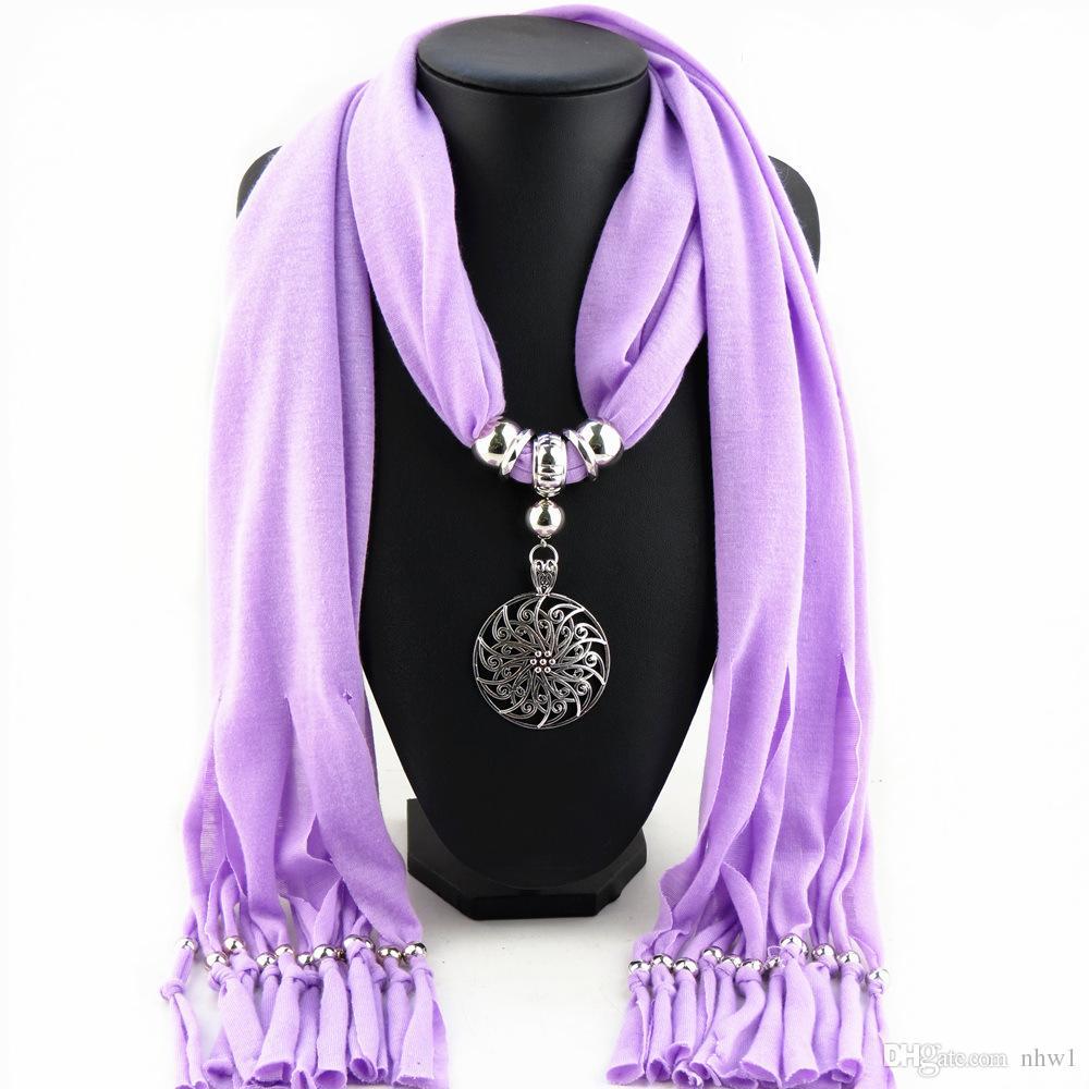 Bohemia bufanda de la borla de la aleación de flores redondas colgante de la joyería bufandas para mujer señoras de poliéster collar bufanda de regalo