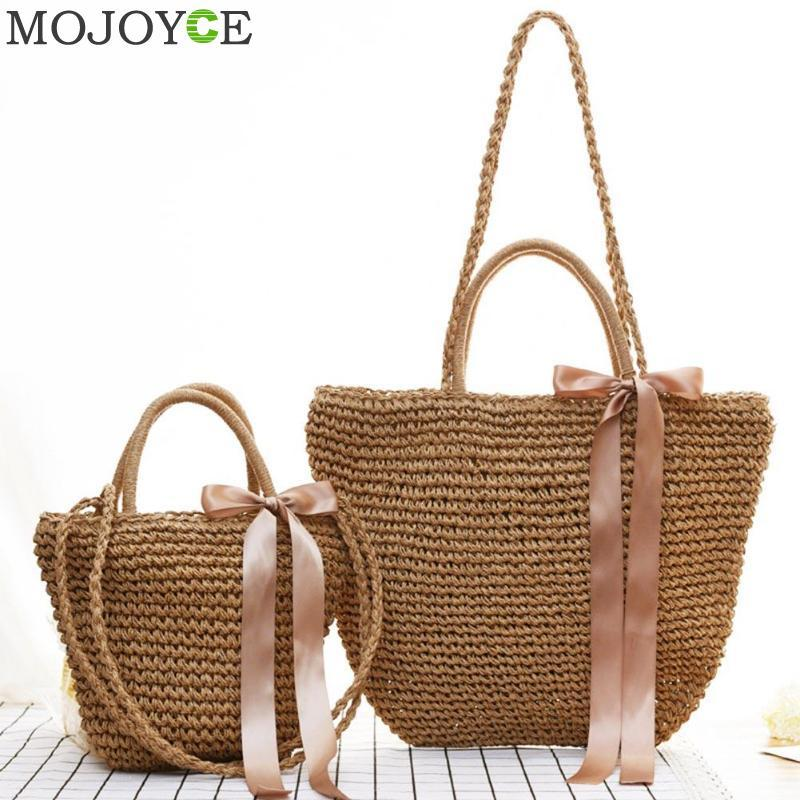 d2642b449d Women S Beach Bag Ribbons Bow Style Straw Handmade Weaving Shoulder Bags  Summer Designer Ladies Solid Casual Shopping Bolsos Branded Bags Leather  Backpacks ...