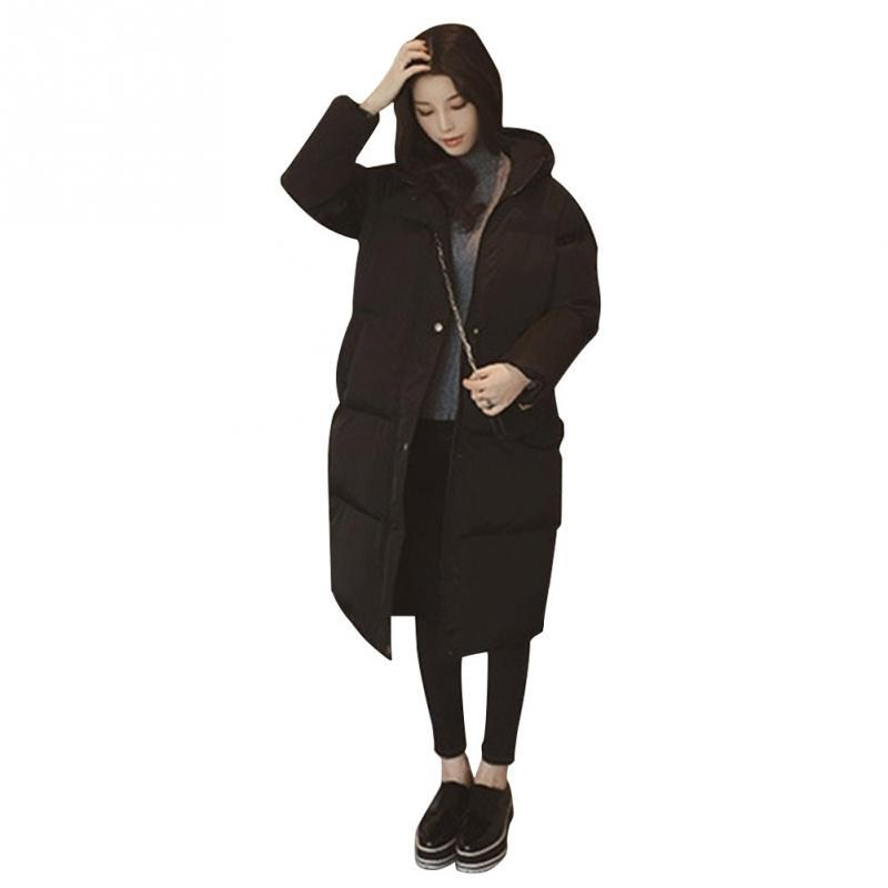f617dc532 Women Winter Full Length Down Jacket Down Hooded Outdoor Warm Coat in Black  Exquisite Pockets High Quality Zipper Coat