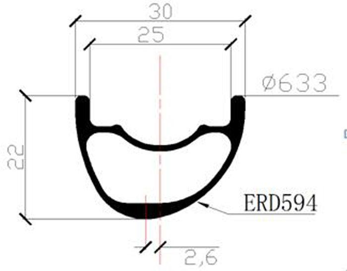 29er MTB XC 30mm x 22mm asymmetric hookless tubuless carbon offset rear wheel 240s hub 6 bolts 54T pull straight 142mm 28 Holes UD glossy