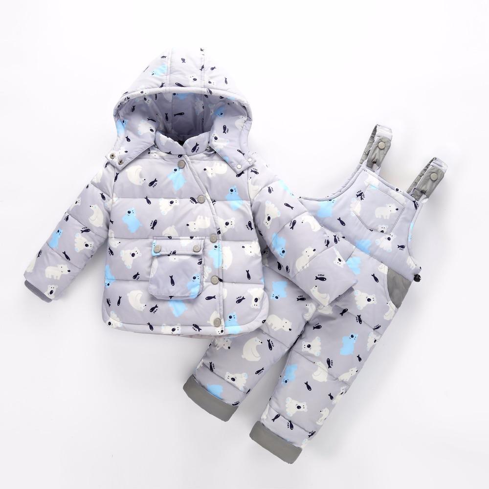 Русская зима теплая пуховики для девочек зима дети пуховик брюки-куртка одежда девушки детское пальто куртка 30#