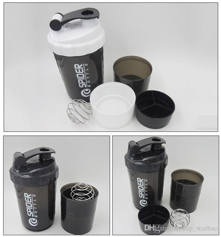 501-600 ml 3 en 1 deportes botella de agua spider proteína shaker para fitness viajar con escala insertada bola de mezcla taza de beber taza HH7-987