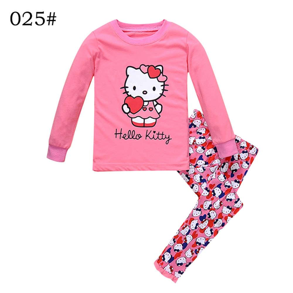3b28ce5ed Kids Pajamas Sets Girl Hello Kitty Pattern Night Suit Children Cartoon  Sleepwear Girls Pyjamas 100% Cotton Nightwear Size 2 7Y Girls Xmas Pjs Girls  Leopard ...