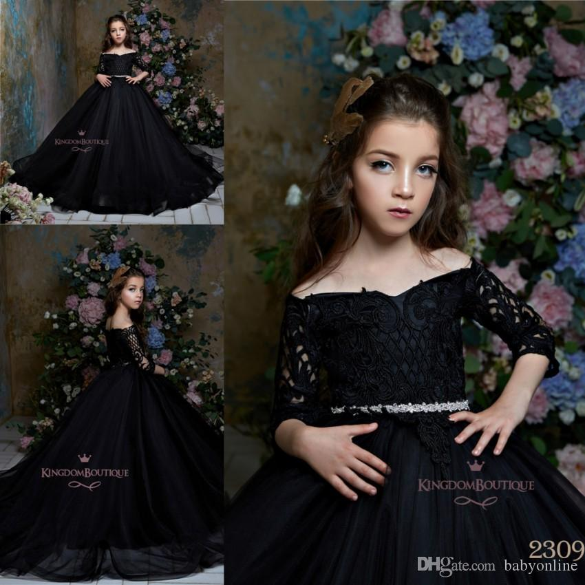 7506072ef Vintage Black Long Sleeves Lace Tull Girls Pageant Dresses 2019 Off ...