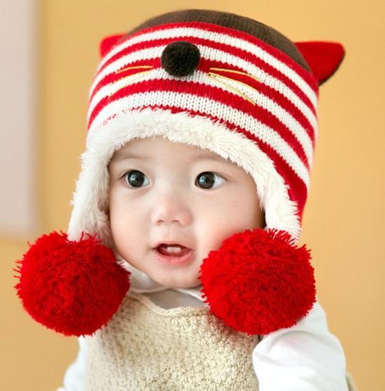 Baby Plus Fleece Cat Ear Knit Hats with Big Pom Pom Winter 2018 Baby ... 6970e3aba97c