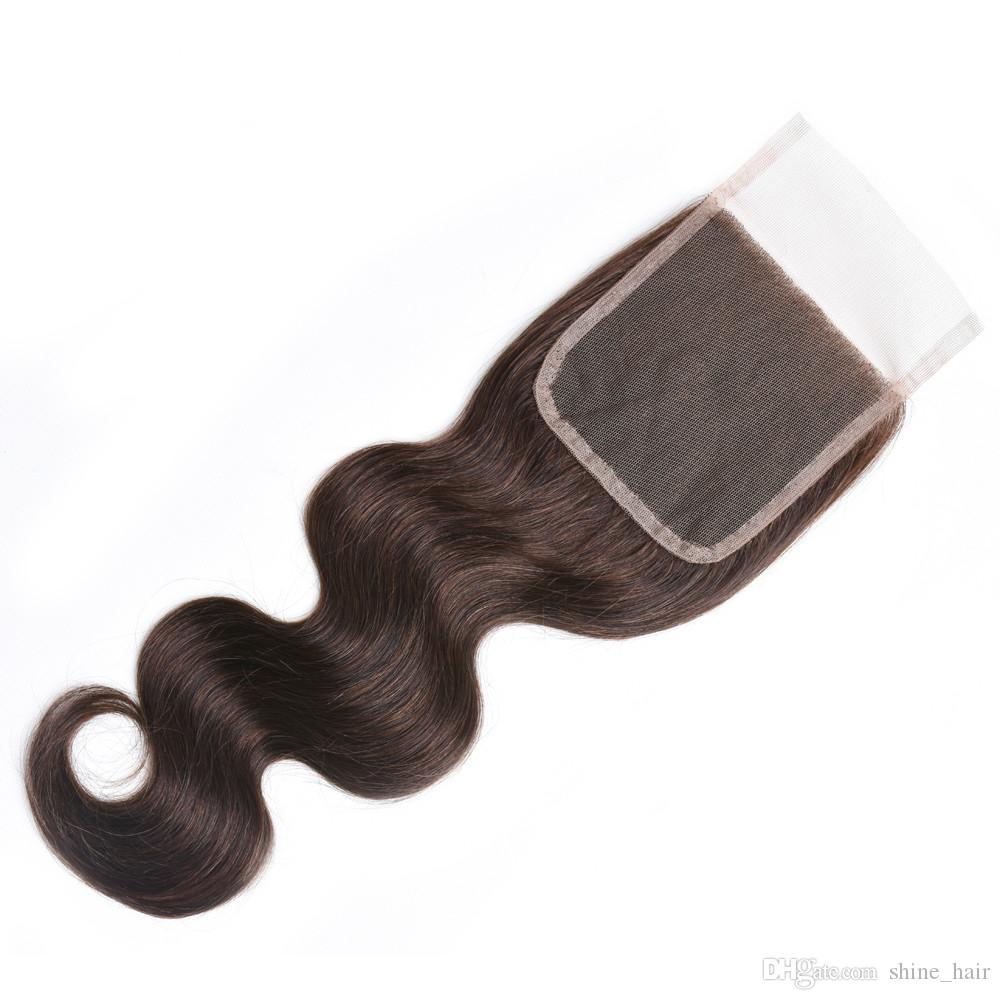 Chocolate Brown Human Hair 3Bundles With 4x4 Lace Closure Body Wave #4 Dark Brown Peruvian Virgin Hair Weave Bundles with Top Closure