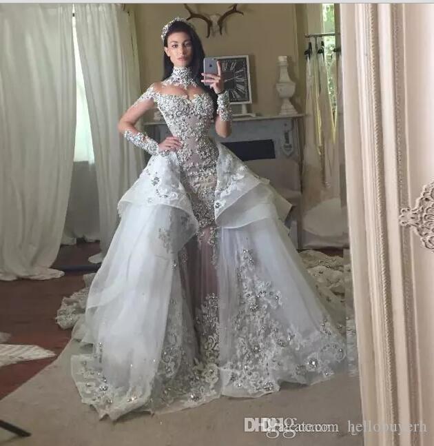 Mermaid High Neck Sheer Wedding Dresses Bling Long Sleeve Detachable