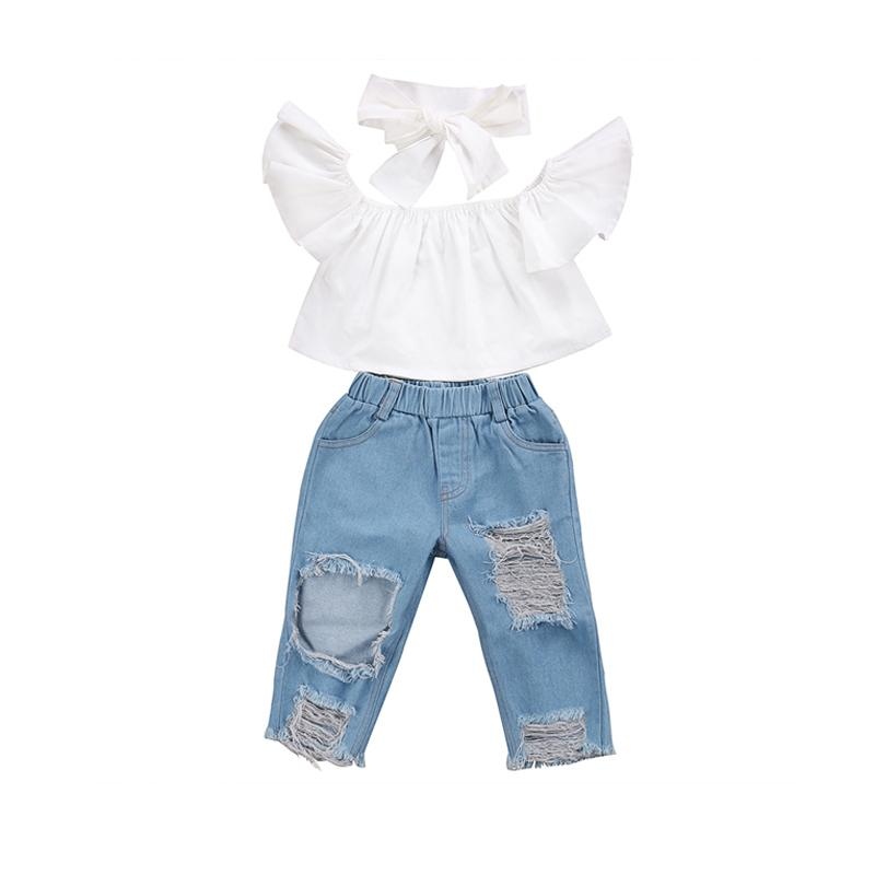 6226709b Fashion Casual Newborn Toddler Baby Girls Petal Sleeve Off Shoulder  Pullover White T-Shirts Hole Blue Denim Pants Headband Y1892906 Online with  $22.16/Piece ...