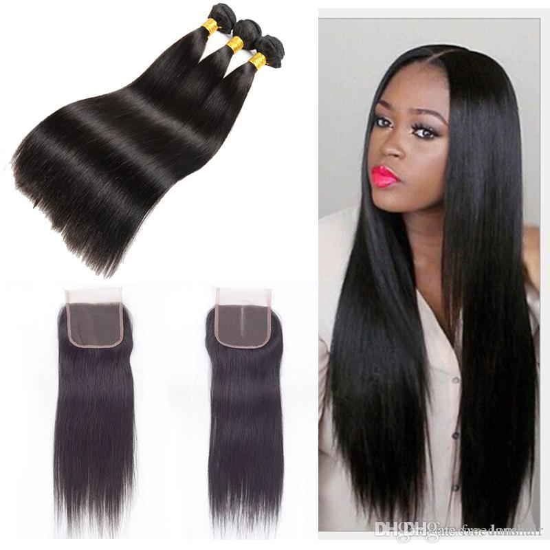 Brazilian Remy Hair Straight Bundles With 4x4 Lace Closure Indian Virgin  Human Hair Weaves With Closure Natural Black Hair Extensions Women Hair  Accessories ... a87f793a3