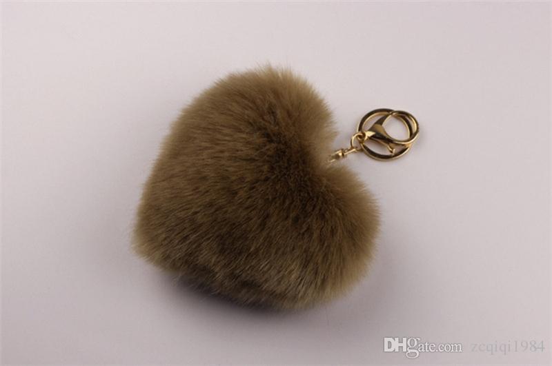 فو ريكس الأرنب الفراء بوم بوم شكل قلب مفتاح سلسلة حقيبة امرأة سحر رجل حلية سيارة المفاتيح