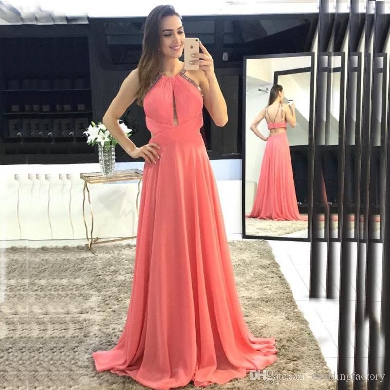 c2150169e6 Sexy Coral Prom Dress Long Formal Evening Party Gowns Halter Neck  Sleeveless Cut Out Design Ruched Chiffon A Line Party Wear Sweep Train Short  Formal ...