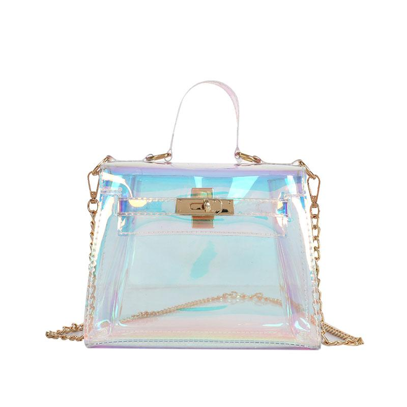 Laser Messenger Bags Candy Women Fashion Jelly Transparent Handbag Plastic Shoulder  Bags Hasp Lock Chains Handbags Holographic Shoulder Bags For Women ... 6123bc8adcebe