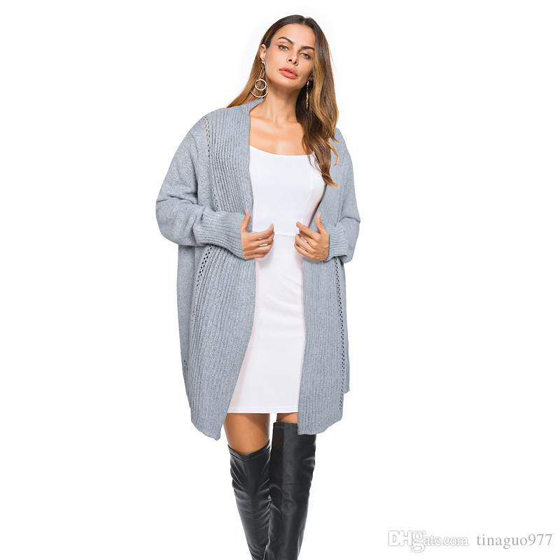 87818ee4d309e3 2019 Sweater Womens 2018 Cardigan Long Sleeve Open Front Knit Longline  Cardigan Free Size Gray Black Apricot From Tinaguo977, $17.27 | DHgate.Com