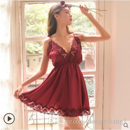 2019 2019 Summer Women New Sexy Sleepwear Sleep Dress Nightgowns Female  Ladies Nightdress Backless Lace Nightgown With T Pant From Dongziliang1 de33898f8