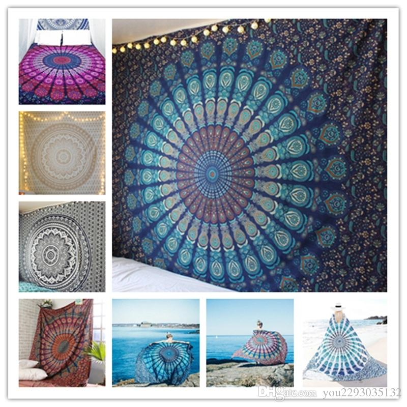 Lannidaa 3D Printed India Mandala Tapestry Wall Hanging Farmhouse Decor Boho Blue Hippie Tapestry Bohemian Wall Carpet 148x200CM