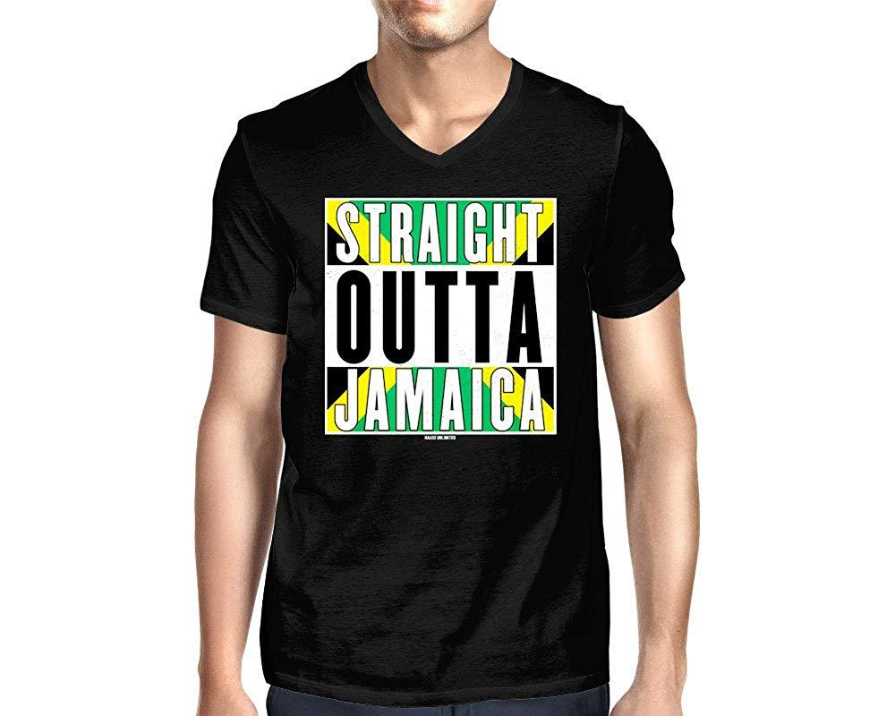 9039a292 HAASE UNLIMITED Men'S Straight Outta Jamaica V Neck T Shirt Mens 2018  Fashion T Shirt 100% Cotton Tee Shirt Tops Wholesale Tee T Sirt T Shirt  Sites From ...