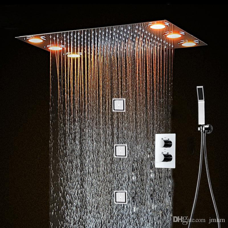 Bathroom Fixtures Shower Faucets Big Shower Head Rainfall Mirror Shower Panel Ceiling Bathroom Accessories Shower Set Water Saving Led Light Showerhead 500*360mm We Have Won Praise From Customers