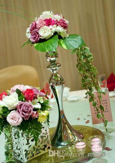 Bougeoir de mariage 30/40 / 50cm argent / or Chandelier de mariage debout permanent Fleur de mariage Stands Candélabre Argent
