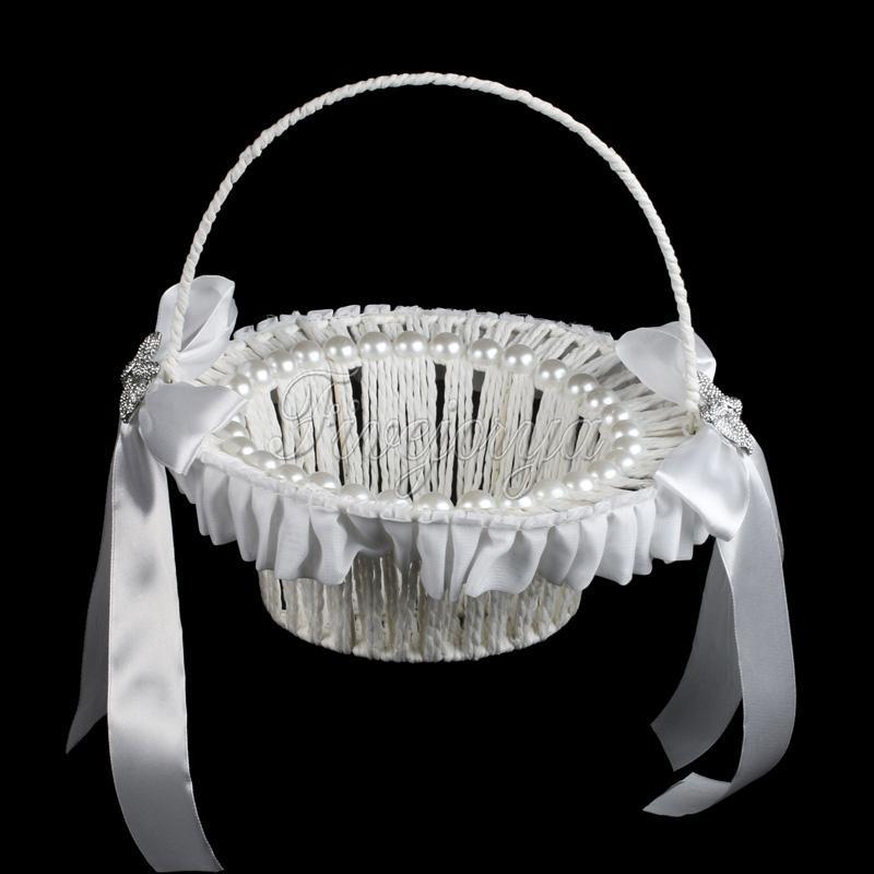 Cesta de flores de boda blanco con perlas Cintas de raso Boda arco de diamantes de imitación Boda Favor decoraciones Almacenamiento Canasta de flores de caramelo