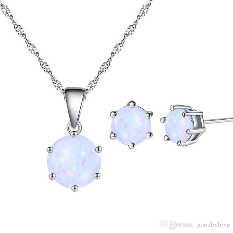 18K White Gold Plated White & Colorful 6MM Opal Stud Earrings 8MM Pendant Water Wave Chain Necklace Jewelry Sets for Women Girls