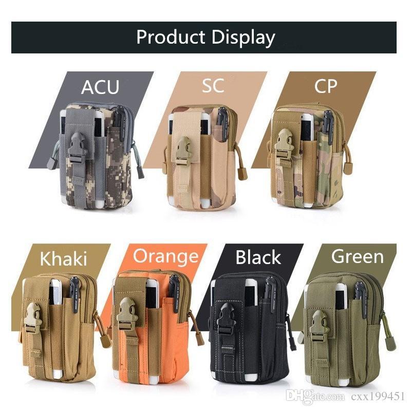 Funda táctica universal al aire libre Molle Militar Cadera de la cintura Bolso Monedero Bolsa Monedero Cajas del teléfono para iPhone X Enviar en 1 día