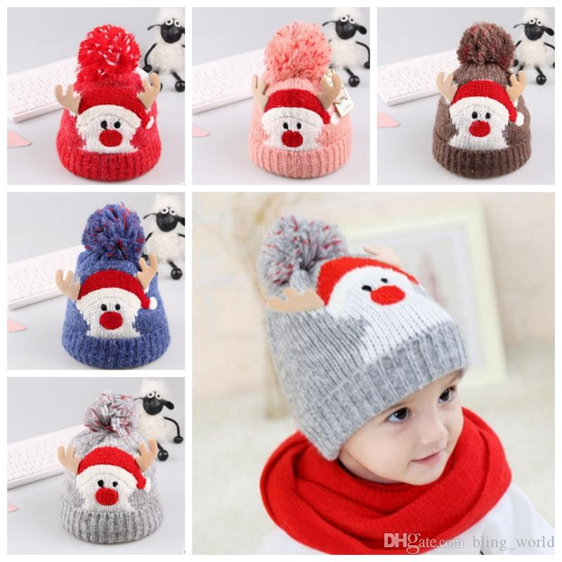 Baby Hat Santa Knitted Beanies Hats Crochet Pom Caps Winter Warm Baby Hats  Christmas Headwear 5 Designs YW1628 UK 2019 From Bling world f4a0f7ff6c36
