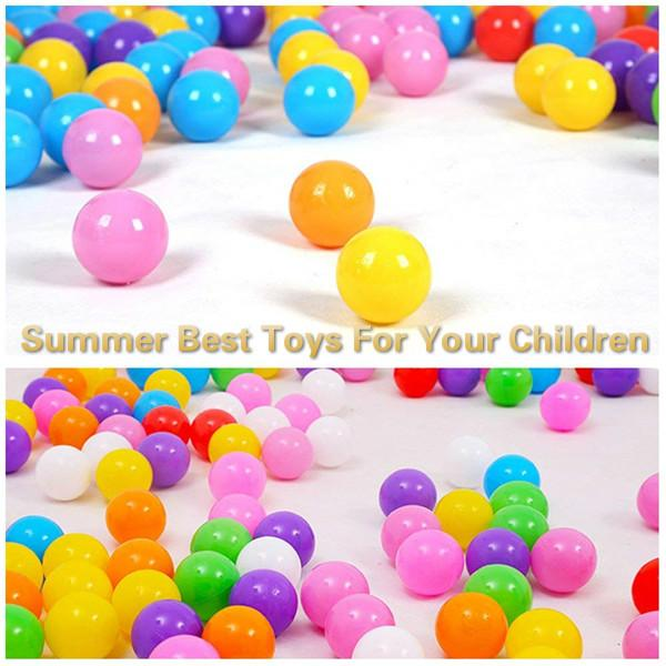 100 PCS Colorful Soft Plastic Ocean Marine Ball Baby Kids Sand Swim Pit Toys Water Pool 100 PCS Fun Wave Balls Outdoor Game 5.5cm =2.17 Inch