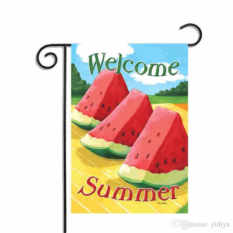 Bandera de jardín de verano de bienvenida Diseñada con banderas decorativas exteriores e interiores de doble cara Banderas para el patio interior Días de verano felices