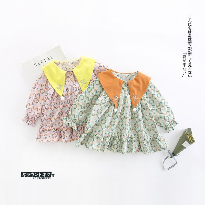 2018 Baby Girl Clothing Dress Magic Collar With Embroidery Design