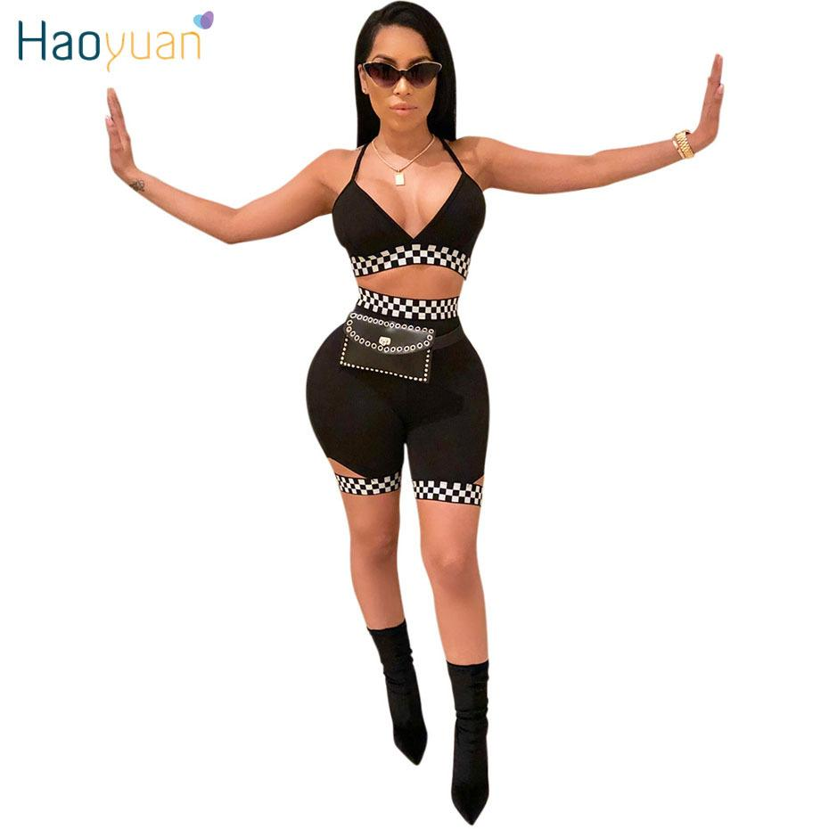 3ebd9850611 2019 HAOYUAN Checkerboard Sexy Two Piece Set Women Tracksuits Summer Crop  Top And Shorts Track Suit Casual Outfits Sweatsuits Y1891901 From Tao01