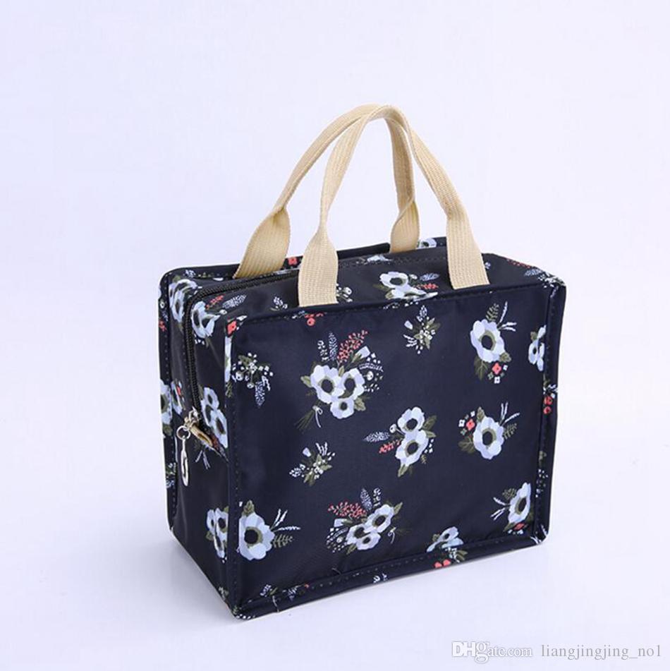 فلامنغو زهرة المطبوعة المحمولة العزل حزمة حقيبة الغداء طالب عشاء حقيبة نزهة احباط الغذاء حقيبة دافئة 300 قطع OOA4839