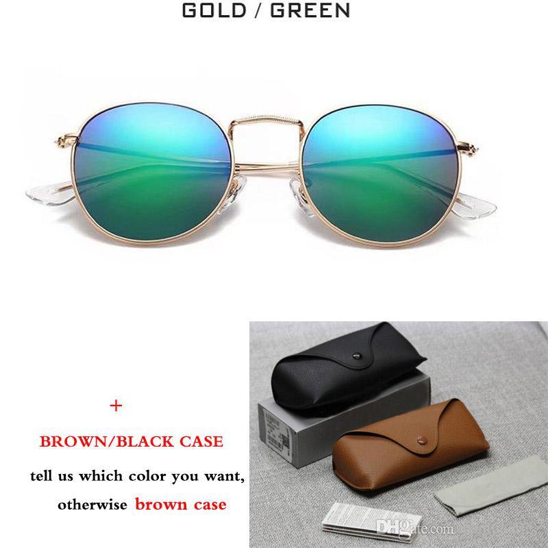 New Classic 3447 Runde Metall Stil Sonnenbrille Männer Frauen Vintage Retro Brand Design Sonnenbrille Oculos De Sol mit braunem Fall